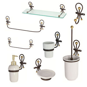 Feridras accessori set bagno in ferro battuto e ceramica for Accessori design casa