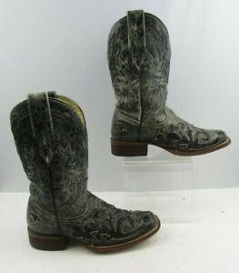 Teen Nubuck Leren Squared Corral Heren Zwart Cowboylaarzen Maat6 D FKl1JTc