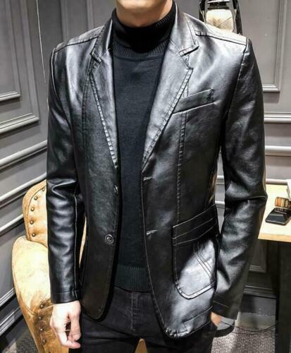 Jacket Blazer Fit Business Leather Formal Coat Slim Men/'s Wedding Casual Dress