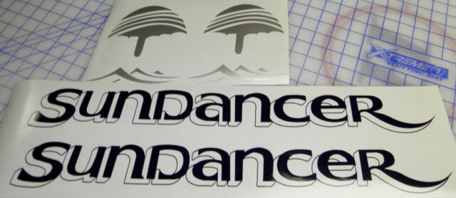 """Sea Ray Sundancer Decals 2 complete sets Black Silver  5/"""" x 22/"""""""