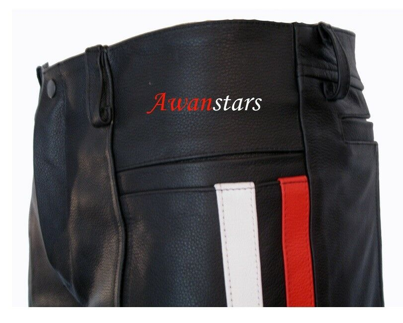 OFFERTA aw-730 Lederhose con strisce Pantaloni in pelle, Pantalon, leather trousers .40w