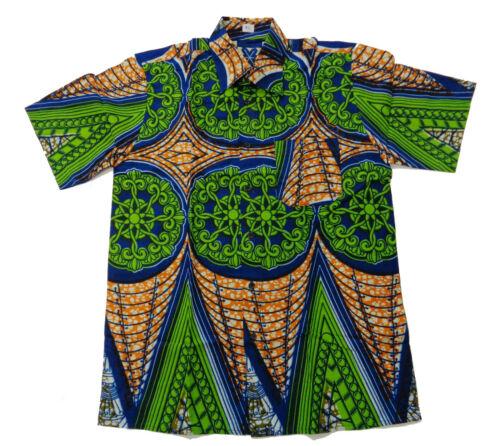 Afrikanisches Hemd 100/% Baumwolle Handarbeit aus Burkina Faso Waxprint kurzarmig