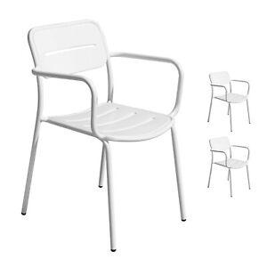 Sedie Da Giardino Impilabili.Set 2 Sedie Da Giardino Impilabili In Ferro Bianco Antiruggine Con