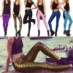 Ladies Gym Leggings Mermaid Fish Scale Slim Skinny Pants Trousers Shiny Metallic