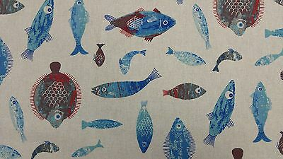 Sea World Linen Fish Linen Look Curtain Craft Upholstery Designer Cotton Fabric