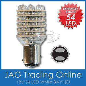 12V 54-LED BAY15D STOP/TAIL WHITE GLOBE - 1157 Automotive/Car/Truck Brake Light