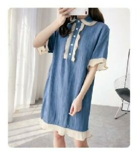 Blue-Wrinkled-Shirt-Dress-With-Beige-Trim