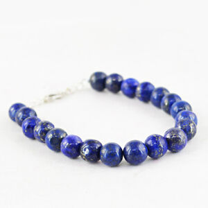 Fine Jewelry Smart 100.50 Cts Earth Mined Untreated Blue Lapis Lazuli Round Shape Beads Bracelet Big Clearance Sale Gemstone