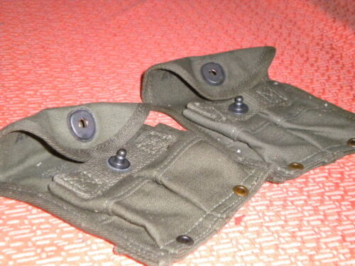 2 U.S.ARMY:: WWII two SEPARATE MAGAZINE POUCHES,DOUBLE,WEB,CARBINE,Cal.30 M-1