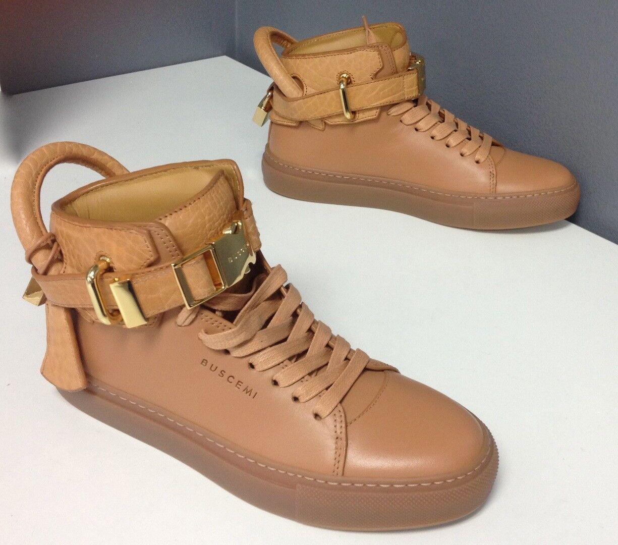 BUSCEMI NWOB Women Tan Leather Lace Up gold Tone Front Clip Sneaker Sz 36 B4504