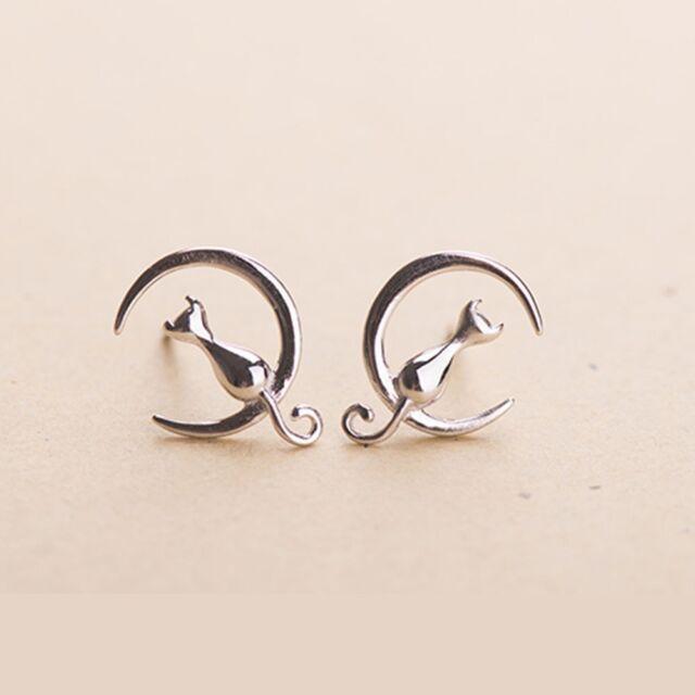 Plated Animal Ear Stud Jewelry Sitting Women Cute Earring Cat Moon