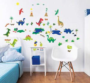 Wandsticker dinosaurier dino wandtattoo babyzimmer kinderzimmer urzeit jungen ebay - Wandtattoo jungen kinderzimmer ...