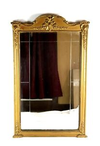 Antique-Wall-Mirror-Baroque-Victorian-Style-Gold-Gesso-Ornate-36-034-x-22-5-034