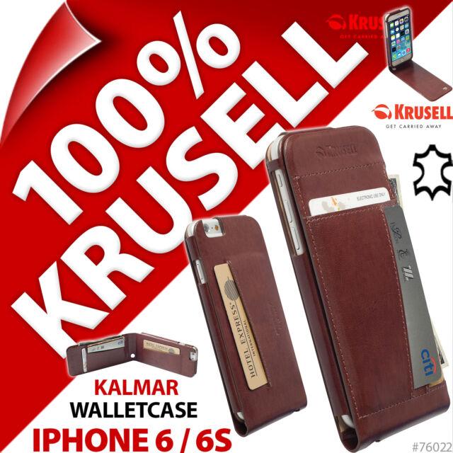 Krusell Kalmar vrai cuir pliant Porte-feuille Étui Folio Apple iPhone 6 / 6S