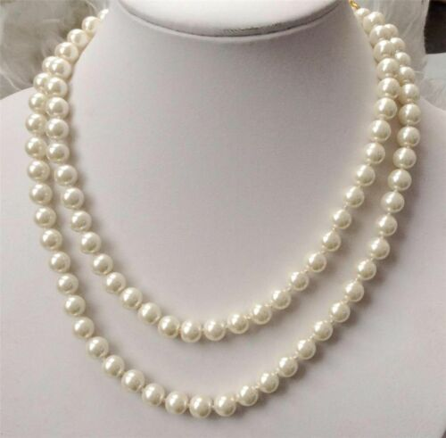 """Pretty 8mm white natural South Sea Shell Pearl round necklace 36/"""" AAA"""