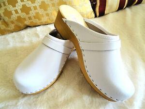 White-Leather-Swedish-wood-Clogs-classic-style-handmade-Sabots-Zuecos-Zoccoli-14