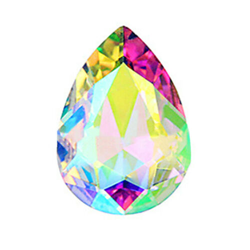 10pcs vente en gros Faceted Teardrop Verre Cristal Charme Loose Spacer Beads grry