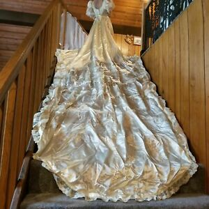 vintage 1980s princess diana inpsired wedding dress cathedral length train small ebay ebay