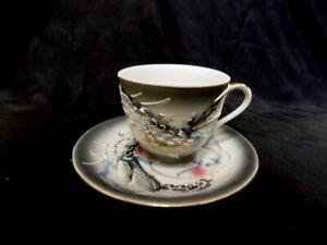Moriage Japan Tea Cup and Saucer Set Vintage Black Dragon Ware