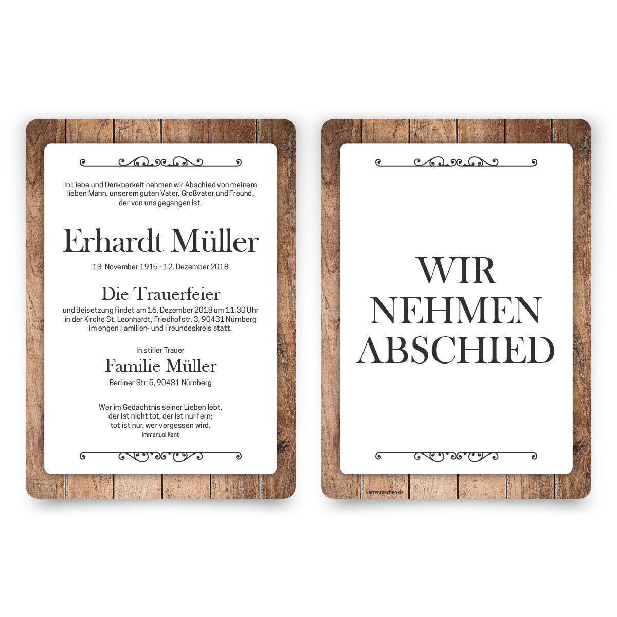 Trauerkarten individuell Trauer Todesfall Beerdigung Karten - Schlichtes Holz
