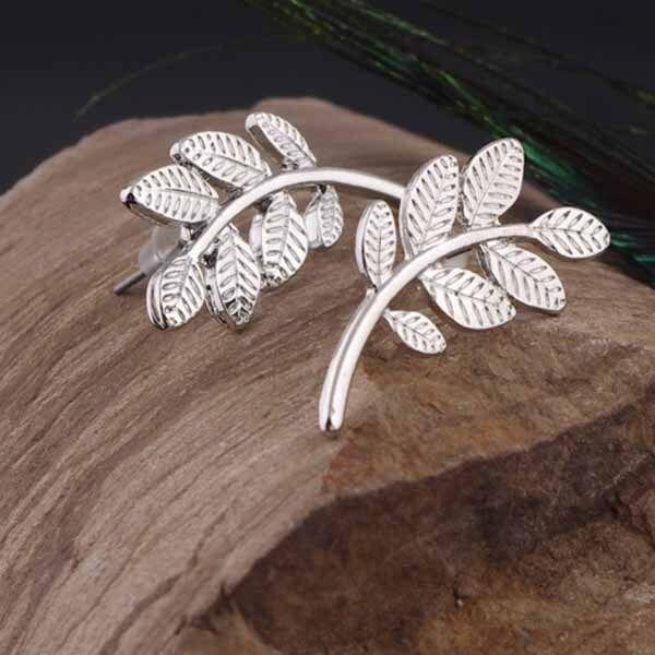 One Pair Gold Silver Foliage Leaf Olive Stud Wrap Earring Boho Earrings