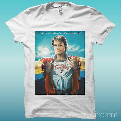 """T-SHIRT """" TEEN WOLF MICHAEL J FOX """" BIANCO THE HAPPINESS IS HAVE MY T-SHIRT NEW"""