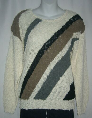 Vintage 80s Off White and Abstract Knit Sweater by Knitivo  Woman/'s Small Vintage Acrylic Knit Sweater