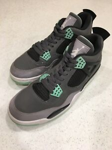 5f25673e515 Nike Air Jordan 4 Retro Dark Grey/Green Glow-Cement Grey-Black ...