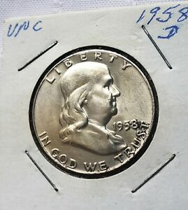 1958-D-Franklin-Half-Dollar-GEM-BEAUTY-Collector-piece