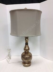 Details about Frontgate Grandinroad Gold Mercury Table Lamp Light Fixture Tan Shade Bedside