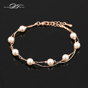 Image Is Loading Anti Allergy Pearl Beads Charm Bracelets Amp Bangle18kgp