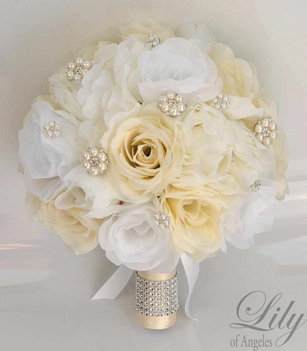 17 Pièce Paquet Soie Fleur Robe de Mariage Bouquet Décoration Perle Blanc Ivoire