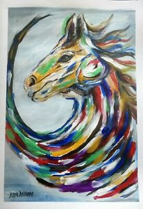 Horse Abstract - Original Acrylic Painting on HandMade Paper