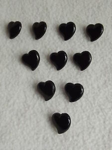 Details about 10 x BLACK HEART SHAPED BUTTONS size 15mm ~ FASHION/CRAFT