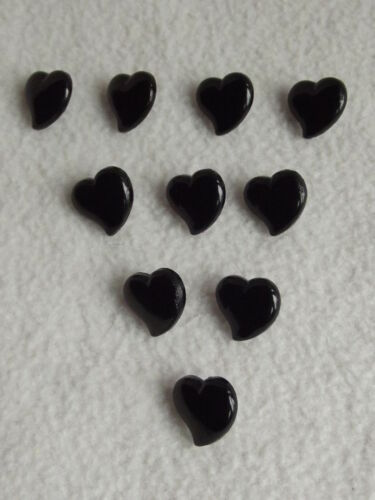 10 x BLACK HEART SHAPED BUTTONS size 15mm ~ FASHION//CRAFT