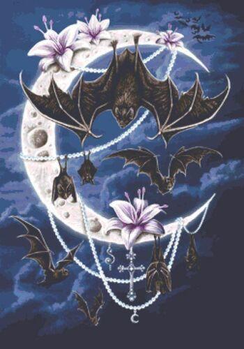 Fantasy UK Large Bats Moon Counted Cross Stitch Kit Goth Halloween