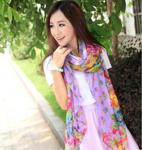 Women Ladies Long Soft Silk Chiffon Scarf Wrap Shawl Stole Pashmina Scarves