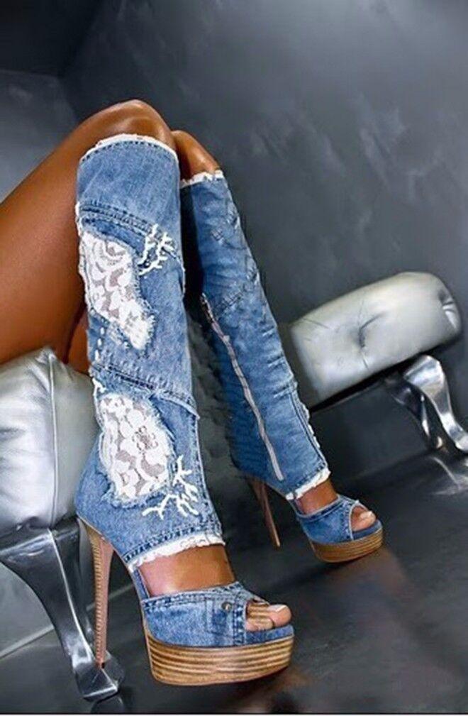 Stylish Women's Denim Knee High Boots Lace High Heels Stilettos Open Toe Sandals