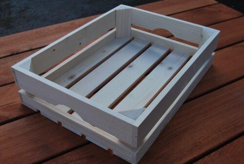 Set tre buona qualità Crate 40x30x10cm in legno naturale per frutta o verdura