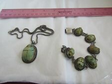 ANTIQUE VINTAGE EGYPTIAN REVIVAL SCARAB STERLING SILVER GREEN PENDANT BRACELET