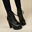 Women-039-s-Lace-Up-Chunky-High-Heel-Ankle-Boots-Platform-PU-Leather-Goth-Punk-Shoes miniature 1