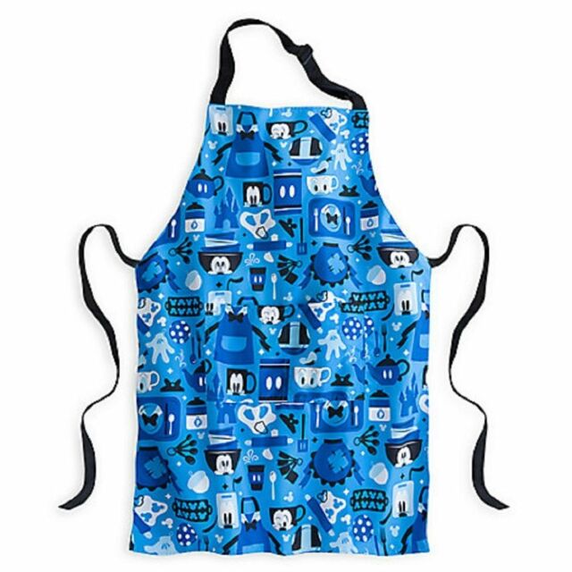 Disney World Mickey Mouse Kitchen Pattern Blue Chef Apron Adult Size NWT