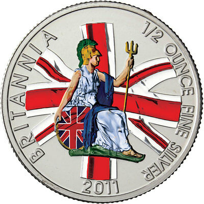 FäHig Großbritannien 1 Pfund Silber Britannia Mit Rüstung & Dreizack 2011 In Farbe Novel (In) Design;