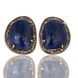 Romantique 28.63 Ct Sapphire Gemstone Pave Diamant 18k Or Massif Clous D'oreilles Bijoux-afficher Le Titre D'origine