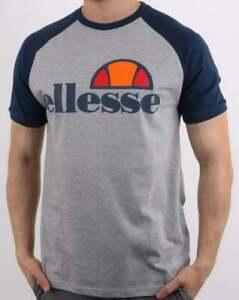 db378dbe596ed3 Ellesse Cassina T Shirt in Athletic Grey & Navy Blue - raglan crew ...