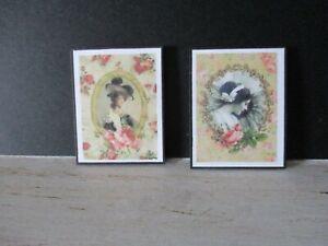 2 Maison De Poupées Miniature Imprime Nz16 Victorian-afficher Le Titre D'origine