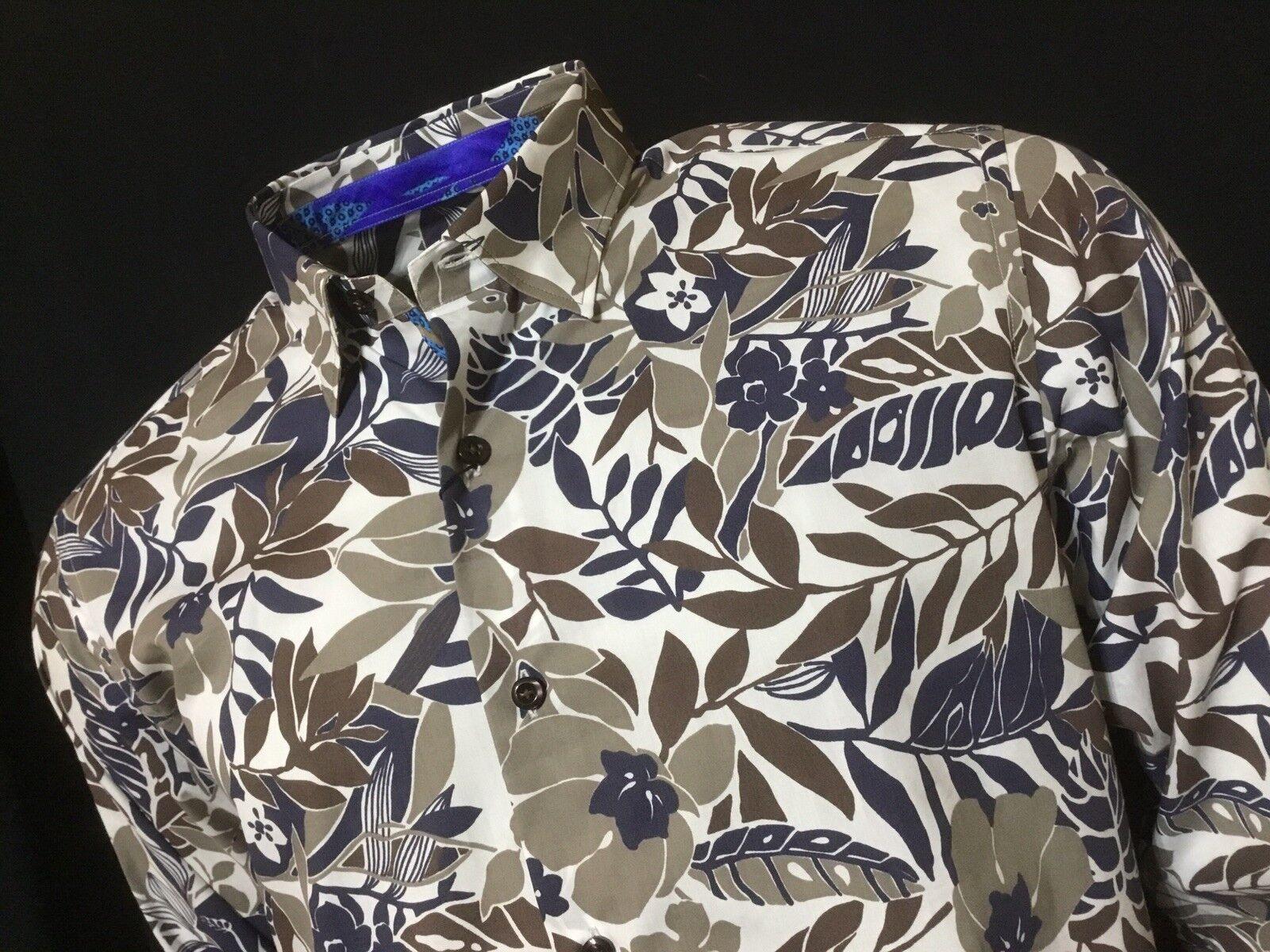 "MANCINI  16"" Collar  Chest Measures 45""  Flower Print Italian Shirt  RRP"