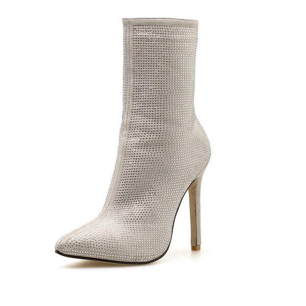 bottes stivaletti stiletto stiletto stiletto beige comodi eleganti 11 cm simil pelle 1406 618068