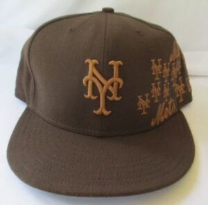 e6fcdcc2d NEW YORK METS NEW ERA 59FIFTY REPEATING LOGO BROWN FITTED CAP HAT ...