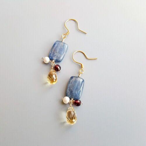 Details about  /Lii Ji  Drop Earrings Kyanite Citrine Pearl Garnet 925 Sterling Silver Handmade